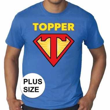 Goedkope grote maten t shirt super topper heren blauw