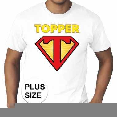 Goedkope grote maten t shirt super topper heren wit