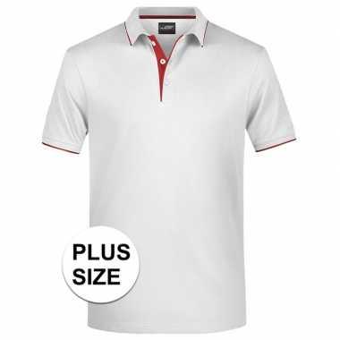 Goedkope grote maten wit/rood premium poloshirt golf pro voor heren