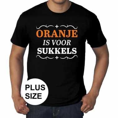 Goedkope grote maten zwart oranje is voor sukkels t shirt heren