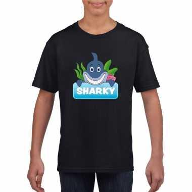 Goedkope haaien dieren t shirt zwart voor kinderen