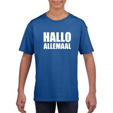Goedkope hallo allemaal fun t shirt blauw voor kinderen