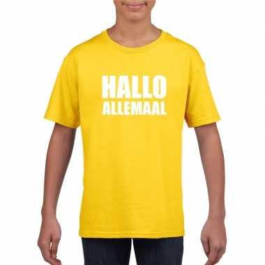 Goedkope hallo allemaal fun t shirt geel voor kinderen