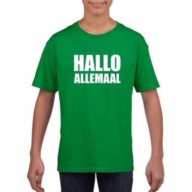 Goedkope hallo allemaal fun t shirt groen voor kinderen