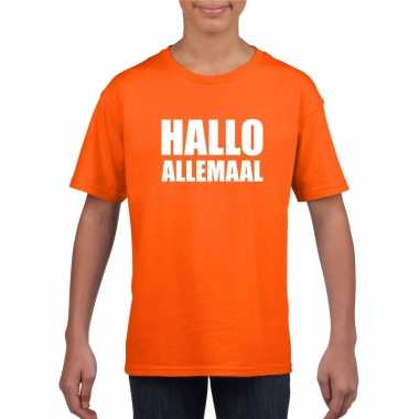Goedkope hallo allemaal fun t shirt oranje voor kinderen