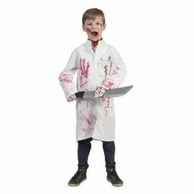 Goedkope halloween bebloed doktersjas met dokterslogo maat 164