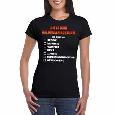 Goedkope halloween dames shirt checklist zwart