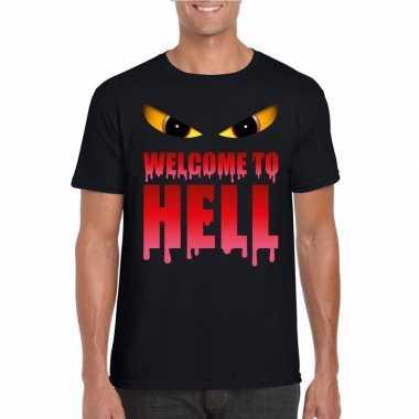 Goedkope halloween duivel shirt zwart heren welcome to hell