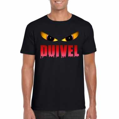 Goedkope halloween duivels ogen shirt zwart heren