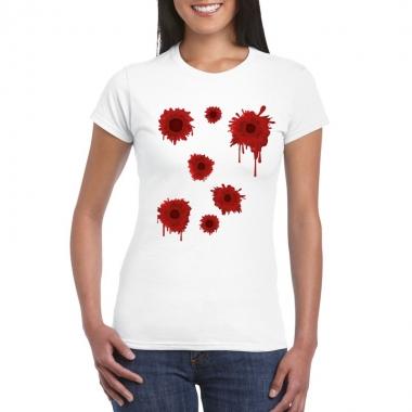 Goedkope halloween/ gangster schotwonden shirt wit dames
