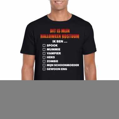 Goedkope halloween heren shirt checklist zwart