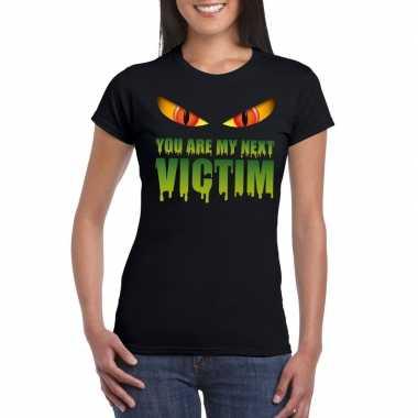 Goedkope halloween monster shirt zwart dames you are my next victim