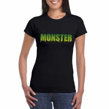 Goedkope halloween monster shirt zwart dames