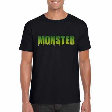 Goedkope halloween monster shirt zwart heren