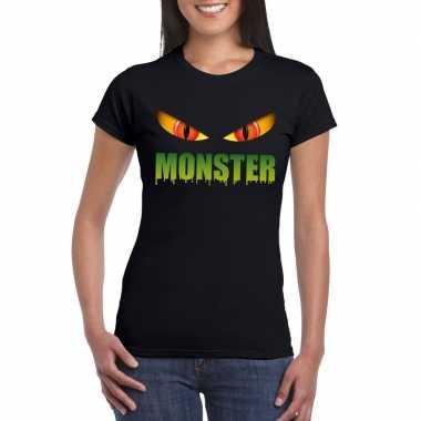 Goedkope halloween monsterogen shirt zwart dames