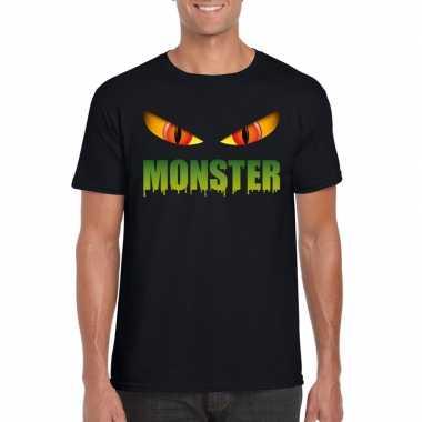 Goedkope halloween monsterogen shirt zwart heren
