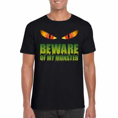 Goedkope halloween shirt zwart heren beware of my monster