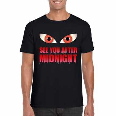 Goedkope halloween vampier shirt zwart heren see you after midnight
