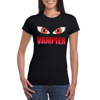 Goedkope halloween vampieren ogen shirt zwart dames