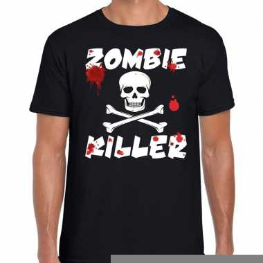 Goedkope halloween zombie killer shirt zwart heren met zombie killer