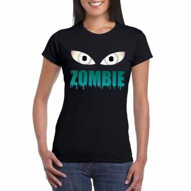 Goedkope halloween zombie ogen shirt zwart dames