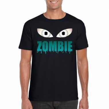 Goedkope halloween zombie ogen shirt zwart heren