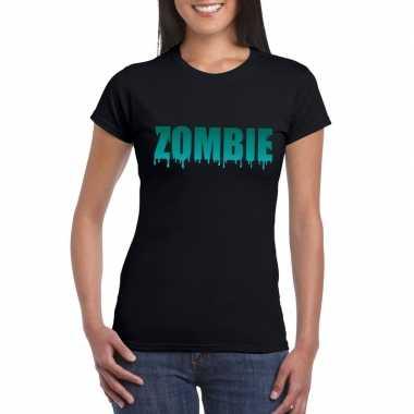 Goedkope halloween zombie shirt zwart dames