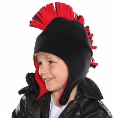 Goedkope hanenkam muts voor jongens zwart / rood