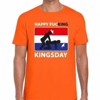 Goedkope happy fucking kingsday t shirt oranje heren