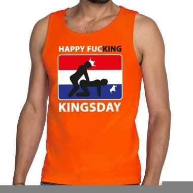 Goedkope happy fucking kingsday tanktop / mouwloos shirt oranje heren