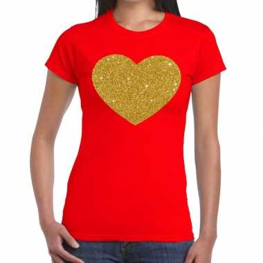 Goedkope hart goud fun t shirt rood voor dames