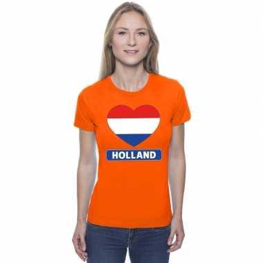 Goedkope hart hollandse vlag shirt oranje dames