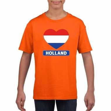 Goedkope hart hollandse vlag shirt oranje kinderen