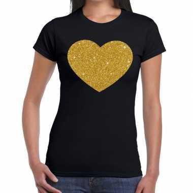 Goedkope hart van goud fun t shirt zwart voor dames