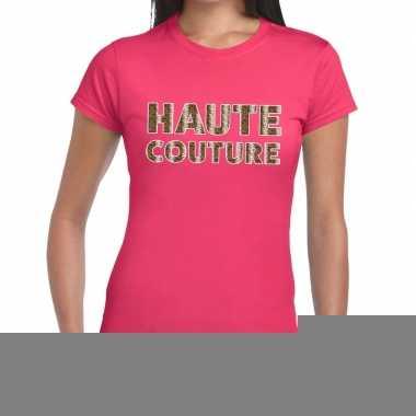 Goedkope haute couture slangen print fun t shirt roze voor dames