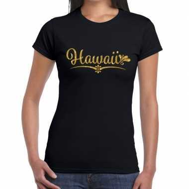 Goedkope hawaii gouden letters fun t shirt zwart voor dames