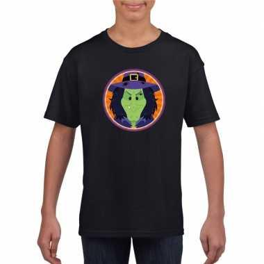 Goedkope heksen halloween t shirt zwart voor jongens en meisjes