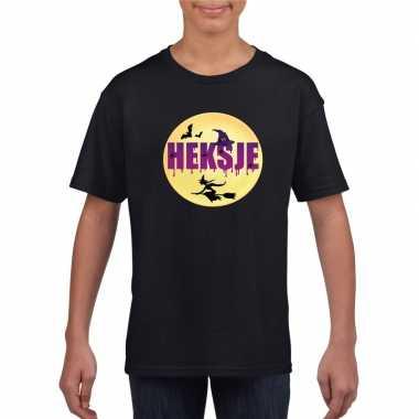 Goedkope heksje halloween t-shirt zwart voor meisjes