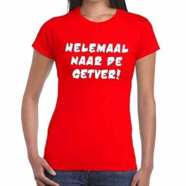 Goedkope helemaal naar de getver fun t shirt rood voor dames