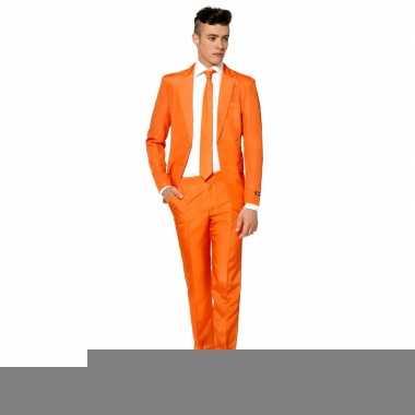 Goedkope heren kostuum oranje met stropdas