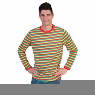 Goedkope heren shirt dorus gestreept in carnavalskleuren