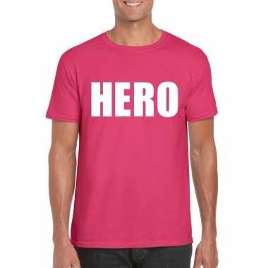 Goedkope hero fun t shirt roze voor heren