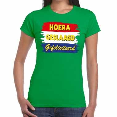 Goedkope hoera geslaagd gefeliciteerd groen fun t shirt voor dames