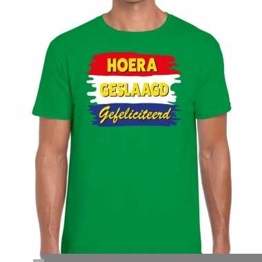 Goedkope hoera geslaagd gefeliciteerd groen fun t shirt voor heren
