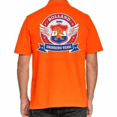 Goedkope holland drinking team polo t shirt oranje met kroon voor her