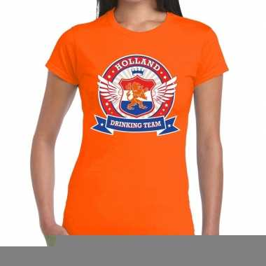 Goedkope holland drinking team t shirt oranje dames