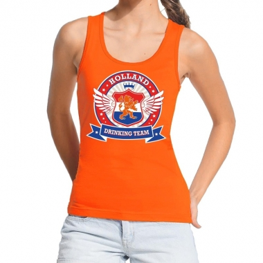Goedkope holland drinking team tanktop / mouwloos shirt oranje dames