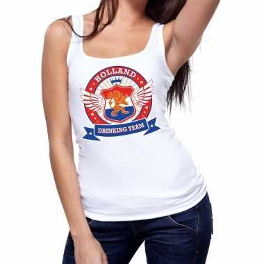 Goedkope holland drinking team tanktop / mouwloos shirt wit dames