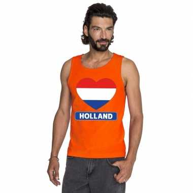 Goedkope holland hart vlag mouwloos shirt oranje heren