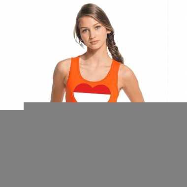 Goedkope holland hart vlag topje/shirt oranje dames